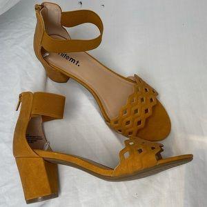 mustard yellow heels w/ ankle strap
